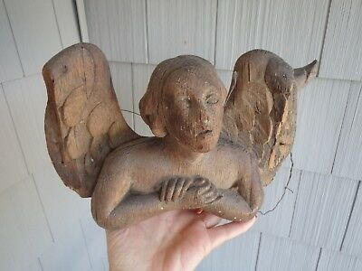 Antique 17th-18th Century Carved Wood Fragment Of Cheub Or Angel