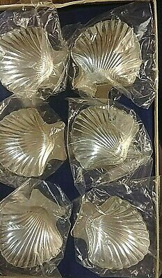 Six FB Rogers Company Tarnish Resistant Silverplate Shell Shaped Nut Dishes