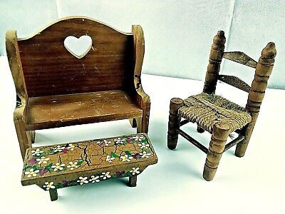 Vintage 3 Pc  Wooden Doll House Furniture Bench with Foot Stool & Chair Exc Cond