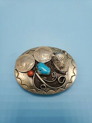 Vintage Silver Turquoise Buffalo Nickel Belt Buckle