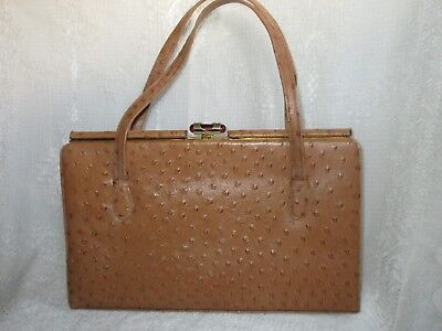 Vintage Ackery Ostrich Leather Kelly Bag