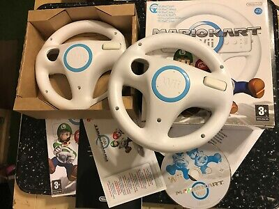 NINTENDO Wii RACE GAME SUPER MARIO KART MARIOKART COMPLETE +2x OFFICIAL WHEELS