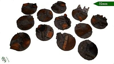 32mm Round Resin Scenic Infantry Bases Urban/Rubble #1 Wargames  40K