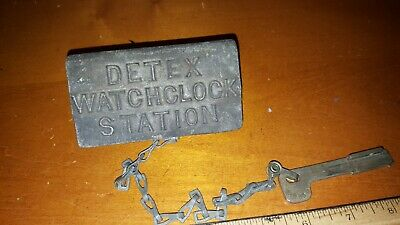 Vintage Detex Watchclock Station Box Case With Key And Chain Key #2