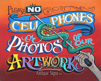 No Photos of ART cellphone Tattoo Shop Policy Print vintage style ink flash