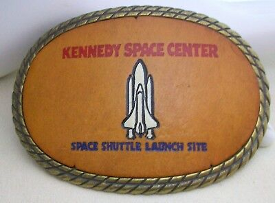 Collectible Vintage Kennedy Space Center Space Shuttle Belt Buckle Leather