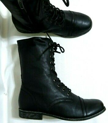 84cb580c8dd Steve Madden Girl Gumbee Black Leather Women s Combat Boots Lace Zipper Up  ...