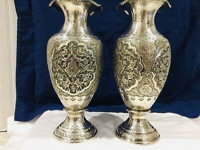 Magnificent Pair of  Solid Silver Islamic Ghajar Middle Eastern  Persian vases