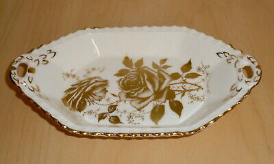 Hammersley Golden Glory Made In England Fine Bone China white serving tray gold