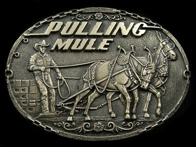 SA01140 *NOS* VINTAGE 1970s **PULLING MULE** SOLID BRASS TONY LAMA BELT BUCKLE
