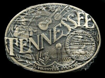 SA01131 *NOS* VINTAGE 1980s **TENNESSEE** COMMEMORATIVE SOLID BRASS BELT BUCKLE