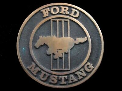 SA01172 VERY COOL VINTAGE 1970s **FORD MUSTANG** SOLID BRASS BELT BUCKLE