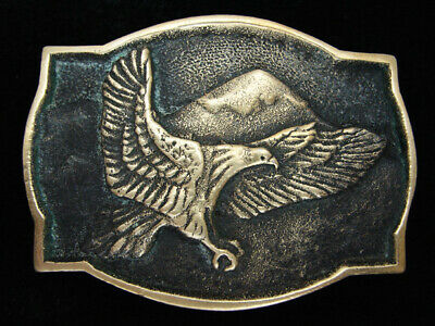 Qg27120 Vintage 1978 **American Bald Eagle** Solid Brass Bts Belt Buckle