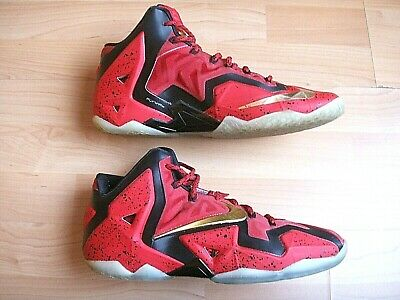 reputable site 713b5 7b2a5 NIKE LEBRON XI 11 iD RED BLACK GOLD 641216-992 MEN S BASKETBALL SHOES