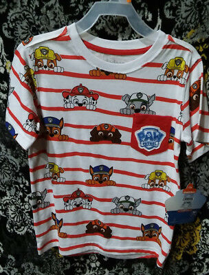 PAW PATROL Toddler Red White Stripe Sky Marshall Rubble Chase T-Shirt Sz 2T NEW
