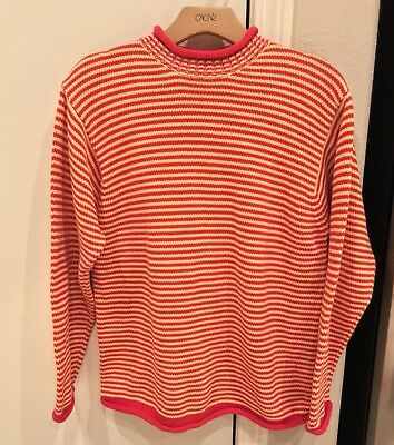 VINTAGE LL Bean Crew Sweater Striped Freddy Krueger Youth Size Large