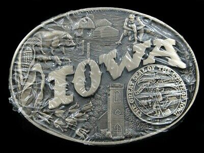 SA01118 *NOS* VINTAGE 1980s **IOWA** STATE COMMEMORATIVE SOLID BRASS BELT BUCKLE