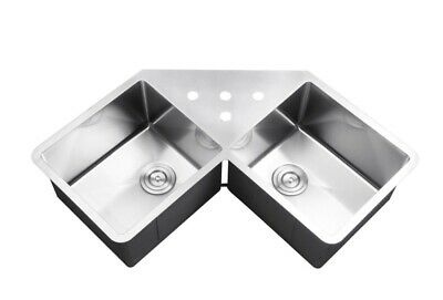 Ruvati Rvh8400 Undermount Corner Kitchen Sink 16 Gauge 44 Double Bowl