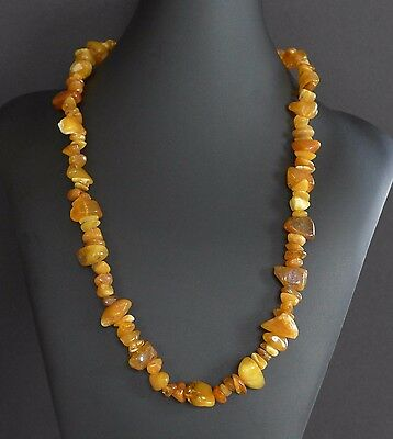 43 Grams Vintage Baltic Butterscotch Amber Bead Nugget Necklace