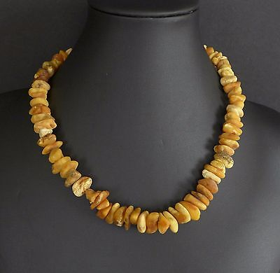 29 Grams Vintage Baltic Butterscotch Amber Bead Nugget Necklace