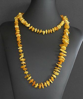 """44"""" XXL Long 41 Grams Vintage Baltic Butterscotch Amber Bead Nugget Necklace"""