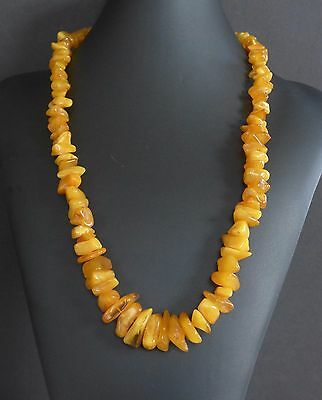 58 Grams Vintage Baltic Butterscotch Amber Bead Nugget Necklace