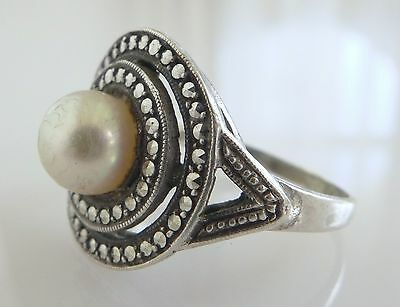 Vtg Theodor Fahrner Pearl Marcasite Sterling Silver Ring 6 Art Deco Signed Deco