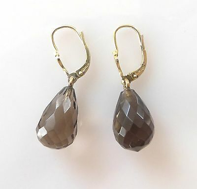 Vintage Gold Vermeil Sterling Silver Faceted Smoky Quartz Dangle Drop Earrings