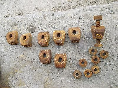 8) Oliver 770 tractor rear rim t cast center hub wedge wheel buckle & nuts bolt