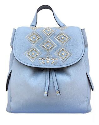 2cb1e660884b NWT Michael Kors Riley Large Leather Backpack Pale Blue Gold Studded  Drawstring
