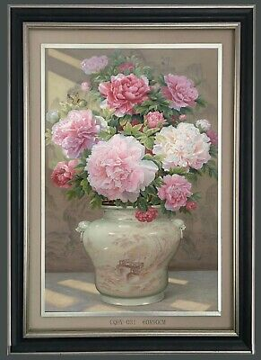 Handmade Floral Oil Painting Flowers in a Chinese Vase 60*90cm #031
