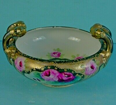 Vintage Japanese Ie&C Company Porcelain Double Handle 'Red Roses' Bowl