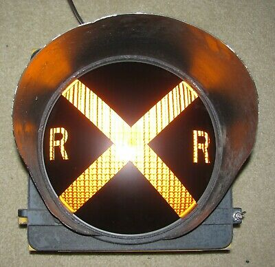"12"" RAILROAD CROSSING Traffic Signal Light Yellow lens cap visor #BE"