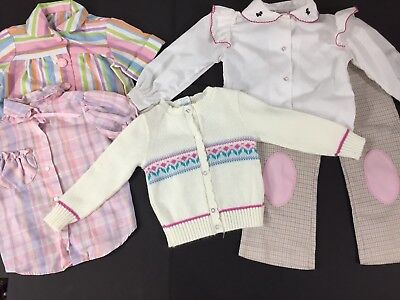 Girls Vintage 80s Lot of 5 Clothing Pieces Shirts Blouses Pants Sweater Pink