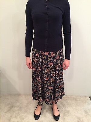 f41781328 Vintage Southern Lady Long Modest Floral Pleated Full Skirt Navy Blue Red  Size S