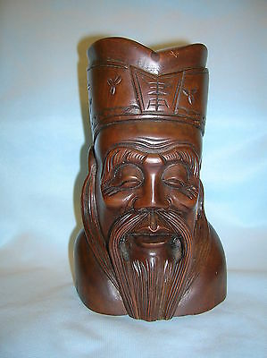 antique Chinese carved head of a man [late Qing Dynasty]