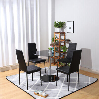 Black Glass Top Kitchen Set Dining Room Round Table With 4 Faux Leather Chairs