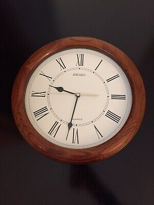 "13"" Seiko Wall Clock Quiet Sweep Second Hand Dark Brown Solid Oak Case"
