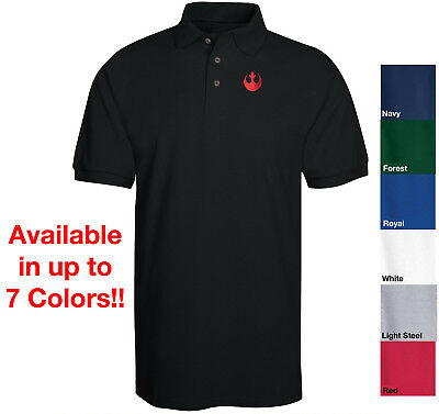 Star Wars Rebel - Resistance Logo in RED Embroidered Polo Shirt 6 Colors S-6XL