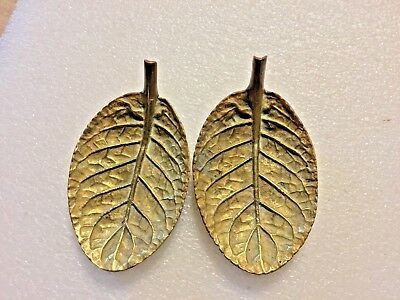 Vintage Virginia Metalcrafters Brass Gloxenia Leaf Dishes-1948-Set of 2