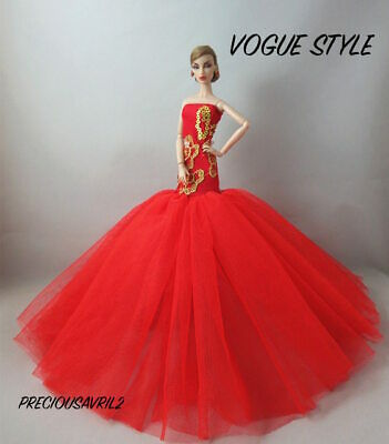 Brand new Barbie doll clothes outfit princess wedding dress red fishtail gown