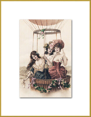 Ladies In A Hot Air Balloon New 4x6 Vintage Postcard Image Photo Print IL68