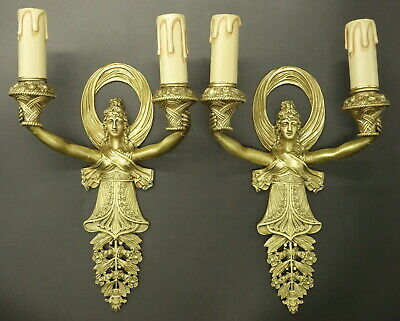 Pair Of Sconces, Caryatids Decor, Period Empire, 19Th - Bronze - French Antique