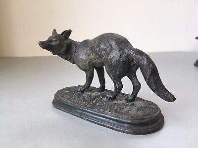 Antique Victorian Spelter Figure Figurine of a Fox, Front Legs a.f