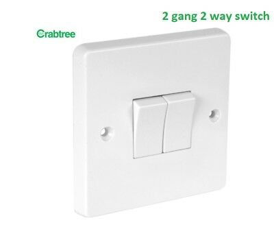 10x Crabtree 4172 White Moulded 2 Gang 2 Way Single Pole Plateswitch 10A