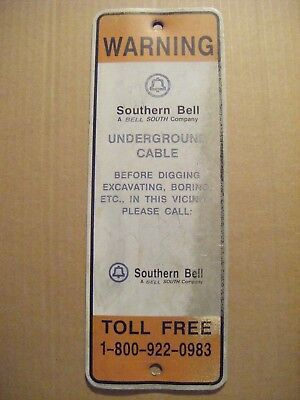 Southern Bell South Telephone Vintage Metal Cable Warning Sign Charleston Sc Vtg