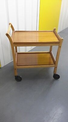A vintage elm /beech and teak trolley by Staples