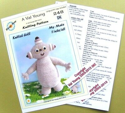 """DOLLS KNITTING PATTERN ** 313 ** 13//14/"""" 1st Baby Annabell  doll ** by Val Young."""