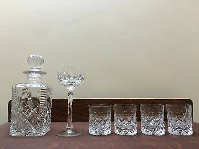 Crystal Cut Decanter, Wine Glass & 4 Round Tumblers VGC