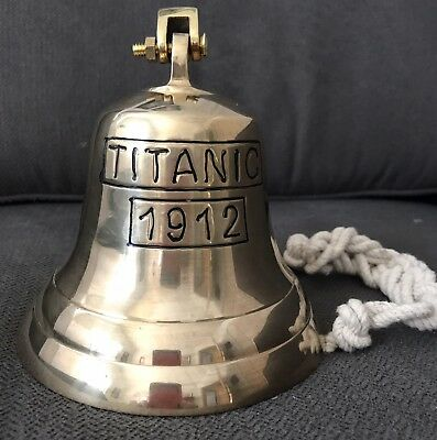 Solid Brass Ships Bell Titanic 1912 Includes  Lanyard and Brass Wall Bracket